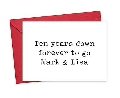 10th Anniversary Card Personalised,  Ten Years Down Forever To Go With Names  • 3.75£