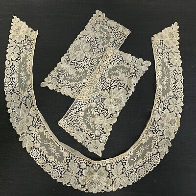 Antique 19th Century Needle Lace Collar And Cuffs • 45£
