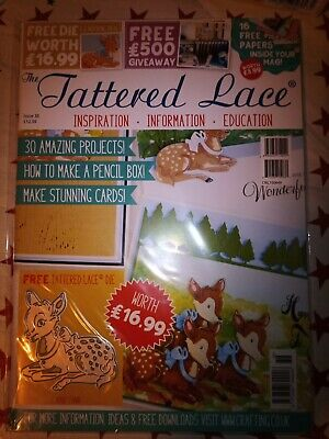 Tattered Lace Magazine Issue 36 - Free Die Baby Fawn Brand New • 5.99£