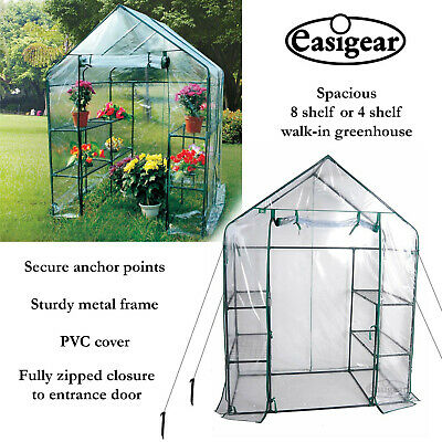 Walk In Greenhouse PVC Cover Garden Grow Green House With 4 Or 8 Shelves • 54.99£
