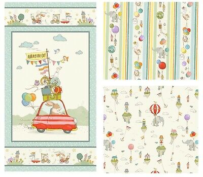 £3.50 • Buy 100% Cotton Fabric By Michael Miller, City Hoppers, Rabbits, Elephant, Panel +FQ