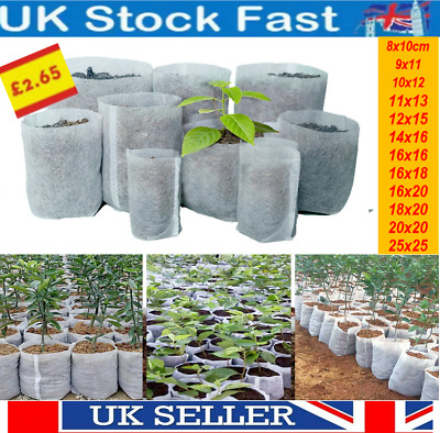 £5.95 • Buy Biodegradable Non-woven Nursery Bags Plant Grow Bags Seedling Pots