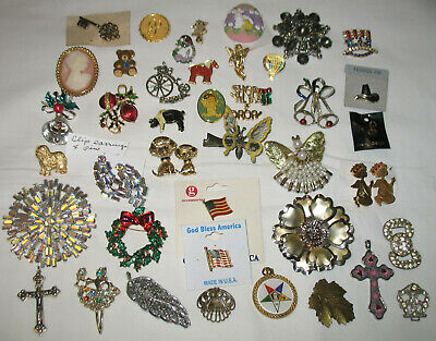 $ CDN12.61 • Buy  +++++ Vintage Costume Jewelry Lot Of Pins Brooches Rhinestones Pendants +++++