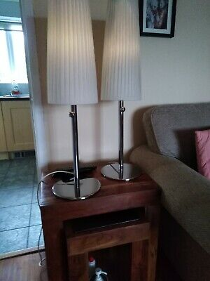 Two Chrome Lamps With Ivory Colour Ribbon Fabric Shades • 10.50£
