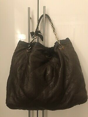 LANVIN  Amalia  Brown Quilted Leather Logo Large Shoulder Chain Bag Shopping • 235.81£