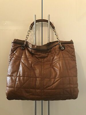 LANVIN Amalia Brown Quilted Leather Large Shoulder Chain Tote Bag Shopping • 214.57£