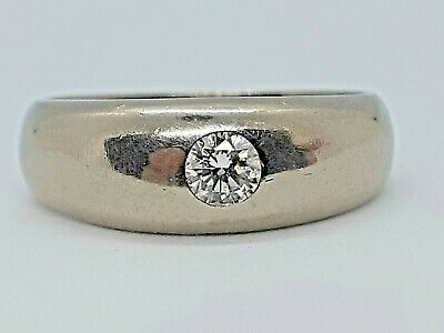 AU795 • Buy Vintage Heavy 18 Ct White Gold And Natural DIAMOND Gypsy Set Ring