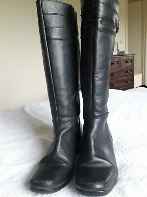 Pavers Knee Length Zip Up  Black Boots Size 5 • 15£
