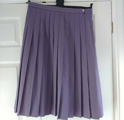 """Cotswold Wool Mix Pleated Skirt Made In Scotland Purple Lined 30"""" Length UK18 • 7.50£"""