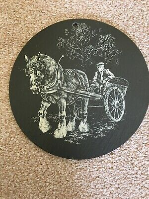 Picture Of One Shire Horse And Farmer In Cart - Etched On Slate - Vintage Item • 10£
