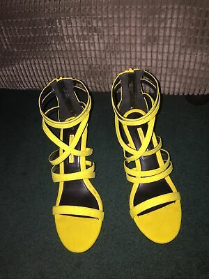 Dorothy Perkins Gorgeous Yellow Heeled Sandals Size 6 • 1.50£