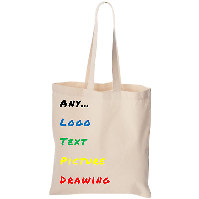 £4.99 • Buy Personalised TOTE Shopping BAG For Life TEXT PHOTO LOGO Large Print Full Colour