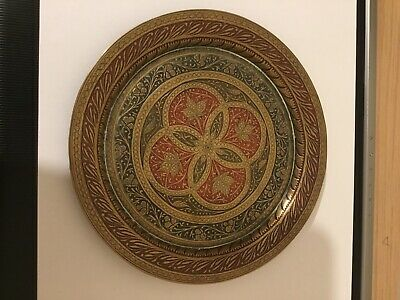 Vintage Indian Brass Enamel Plate • 15£