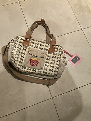 Pink Lining Yummy Mummy Baby Changing Bag  Beige With Bow Pattern  • 10£