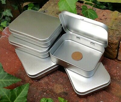 Rectangle Metal Tin With Hinged Lid 150ml *Crafts Storage Sweets Stickers *NEW  • 4.75£