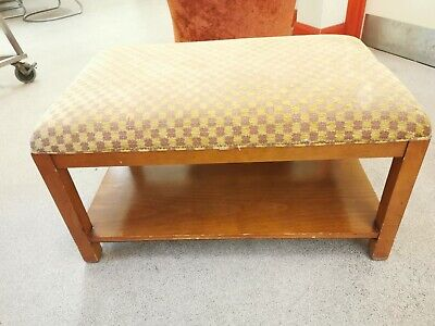 Vintage Wooden Bench Upholstered Seat/sofa Table With  Magazine Storage  • 65£