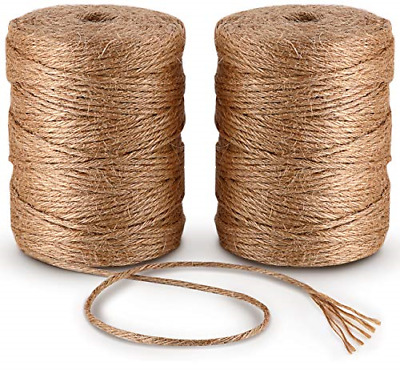 Absofine 6Ply Natural Jute Twine 656ft Jute String Jute Rope For Floristry, DIY • 11.97£