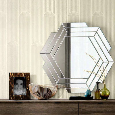 Illusion Wave Geometric Wallpaper In Off White And Metallic • 26.97£