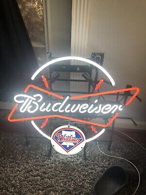 $ CDN126.26 • Buy Budweiser Philadelphia Phillies MLB Sports Neon Sign Real Neon Light
