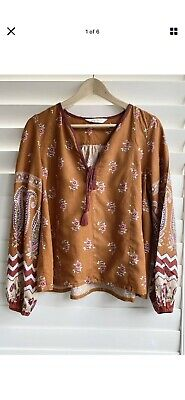 AU45 • Buy Tigerlily Size 8 Floral Boho Peasant Blouse Top Long Sleeve
