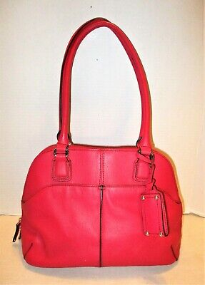 £20.15 • Buy Tignanello Red Pebble Leather Zip Satchel Mirror Hang Tag Lots Of Compartments