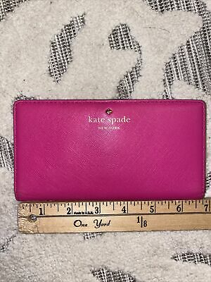 $ CDN32.83 • Buy EUC KATE SPADE STACY SLIM BIFOLD SNAP LEATHER WALLET Pink Polka Dot Black White