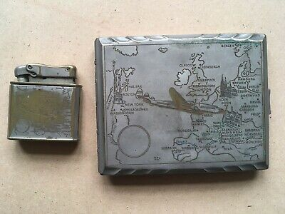 Cigarette Case And Matching Lighter, Decorated With Aeroplane And Maps • 10£