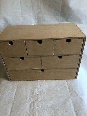 Ikea Moppe Mini Wooden Chest Of 6 Drawers Plywood42x18x32cm Boxes,Storage • 15£