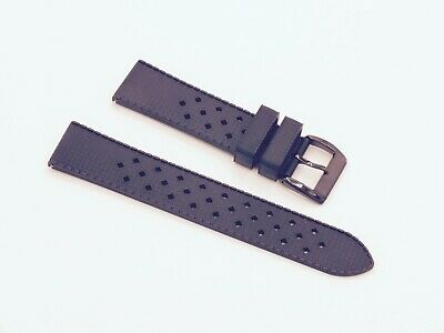 ZULUDIVER Modern Tropical Style Quick Release HNBR Rubber Watch Strap 22mm Black • 8.50£