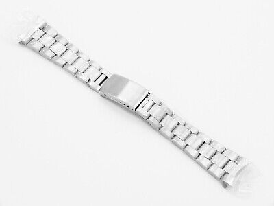 Brushed Stainless Steel Solid Link Watch Strap 22mm Curved Ends • 2.99£
