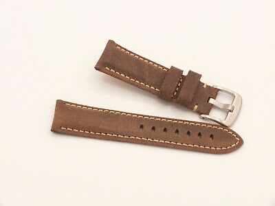 Genuine Leather Padded Watch Strap 22mm Weathered Brown By Geckota • 5.50£