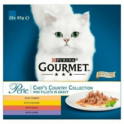 Gourmet CHEAPEST ON EBAY Perle Cat Food Chef's Country Collection 28 X 85g • 30£