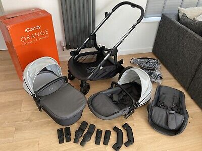 Icandy Orange Double Twin (Can Be Single) Pushchair In Grey Excellent Condition • 390£