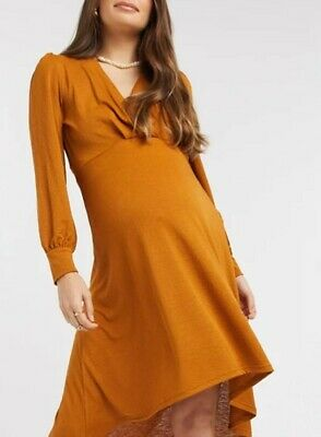 Mamalicious Maternity High Low Dress With Volume Sleeves In Rust Brown - XL • 9.45£