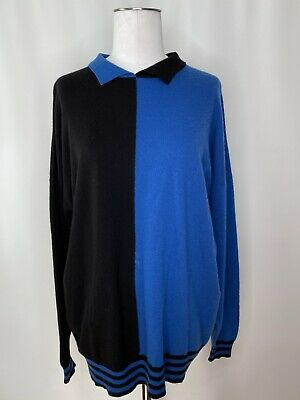 Vintage 1980's N PEAL Colorblocked Cashmere Sweater, Made In Scotland, Large • 68.83£