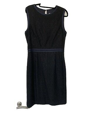 Reiss Black Lace Dress With Navy Trim Detai Uk 14. Fully Lined. Side Zip. • 10£