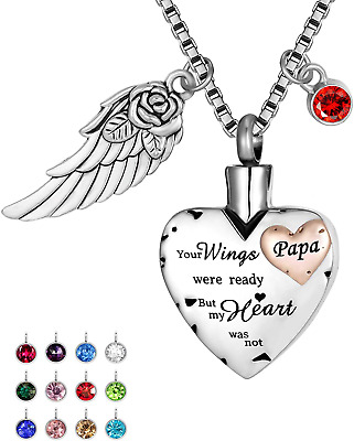 Cremation Urn Necklace Comes With Angel Wing And 12 Birthstones Ashes Jewelry He • 18.08£