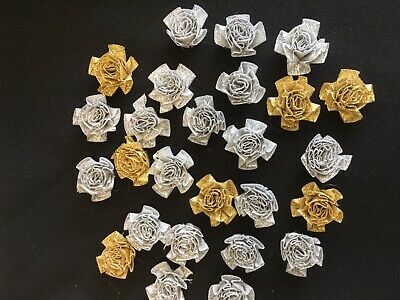 Satin Bows Flowers X 25 Silver And Gold 25mm. Crafts, Embellishments. • 0.99£