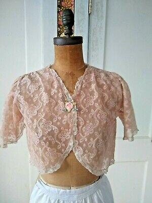 £40.01 • Buy Vintage Edwardian/Victorian  Lace Corset Cover Camisole Lingerie Top SMALL
