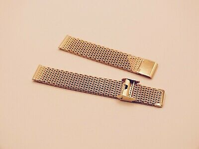 Gold Plated Stainless Steel Shark Mesh Watch Strap 18mm • 3.99£