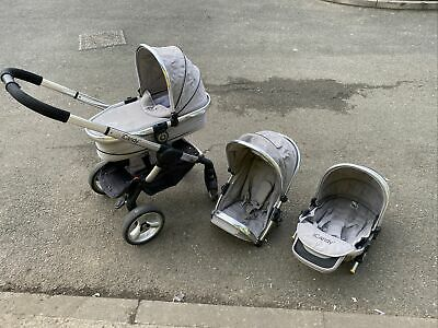 ICandy Peach 2 Truffle Grey Pram Travel System 3 In 1 Used Good Condition • 9.99£