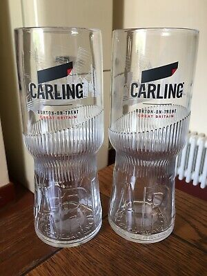 2 X Carling Brand New Style Lager Glasses Pub Home Bar • 4£