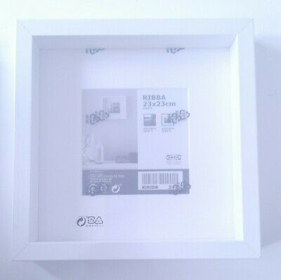 BRAND NEW WHITE IKEA RIBBA Picture Box Deep Frame Display Square 23x23cm  • 8£