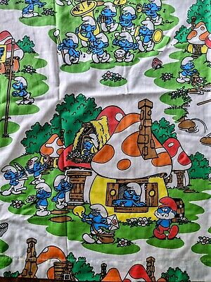 Vintage 80s Smurfs Bed Sheet Set Twin Flat & Fitted  • 26.10£