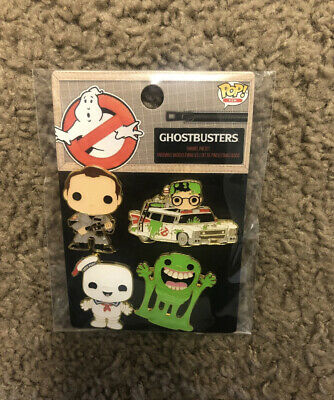 Funko! Pins 4 Pack Slimer, Stay Puft Marshmallow, Dr Peter Venkman, Ecto 1 Car • 17.86£