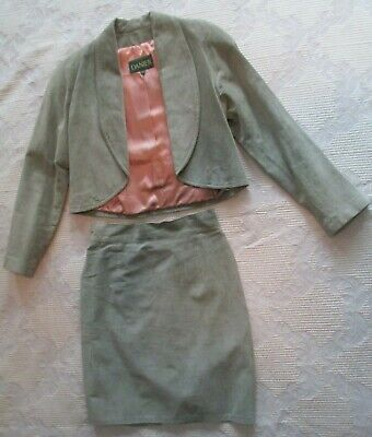 $ CDN39.99 • Buy Ladie's Danier Green Leather Outfit Jacket Skirt Size 10 S Small
