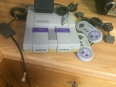 $ CDN125 • Buy Super Nintendo NES Console RF Switch, Adapter And Two Controllers POWERS UP