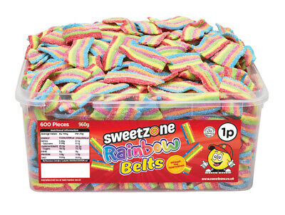 Halal Sweets Sweetzone Fizzy Rainbow Belts Jelly Fizzy Candy Chewy Tubs 600pcs  • 8.99£