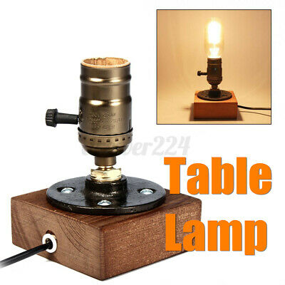 Vintage Industrial Retro Single Socket Table Bedside Light Desk Lamp Woode • 16.93£