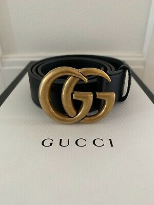 AU333 • Buy Gucci Leather Belt With Double Gg Buckle